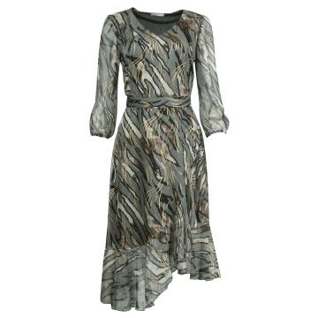 Szara zwiewna sukienka z...