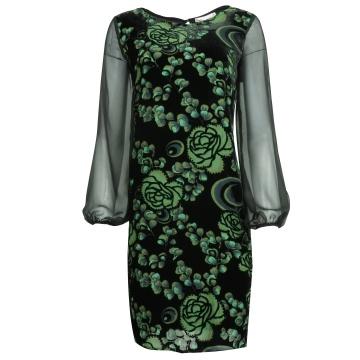 Czarno-zielona aksamitna...