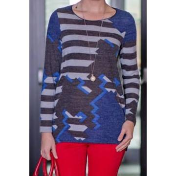 Granatowy sweter damski w...