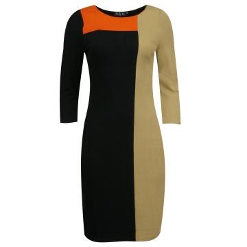 Czarno-brązowa  sukienka z...