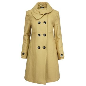 Beżowy płaszcz damski z...