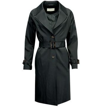 Czarny płaszcz trencz...