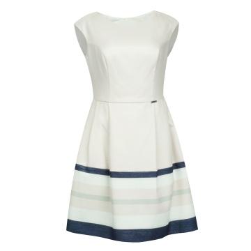 Beżowa sukienka w kolorowe...