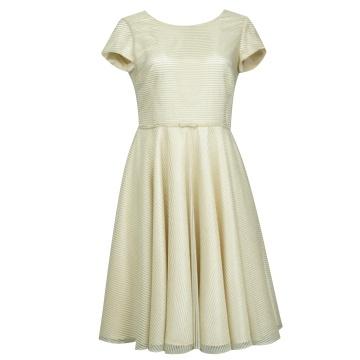 Sukienka ecru z srebrną...