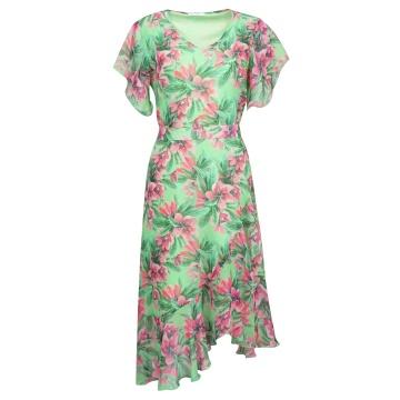 Zielona sukienka w kwiaty...