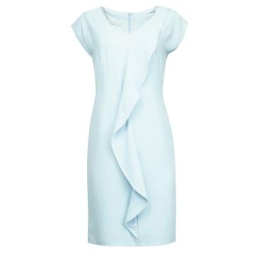 Błękitna sukienka z falbaną...