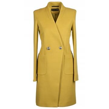 Limonkowy płaszcz damski z...