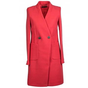 Różowy płaszcz damski z...