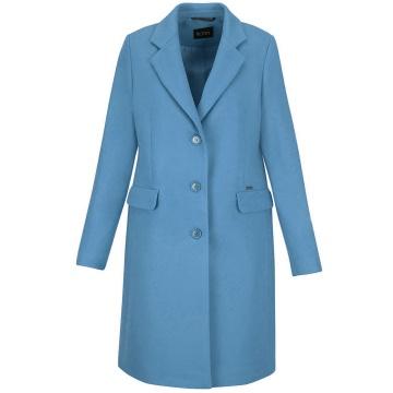 Błękitny płaszcz damski z...
