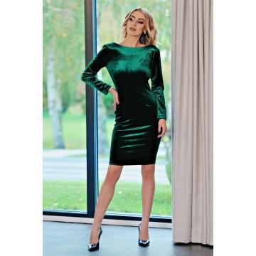Zielona welurowa sukienka z...