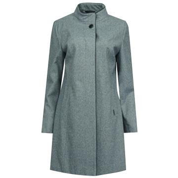 Niebieski płaszcz damski z...