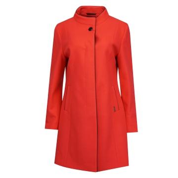 Malinowy płaszcz damski z...