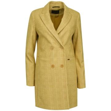 Beżowy płaszcz damski w...