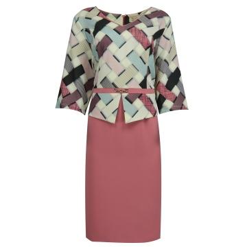 Różowa sukienka z baskinką...