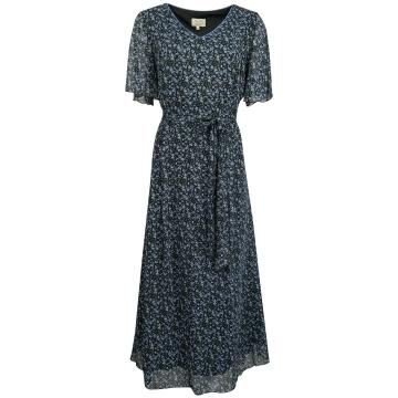 Granatowa długa sukienka w...