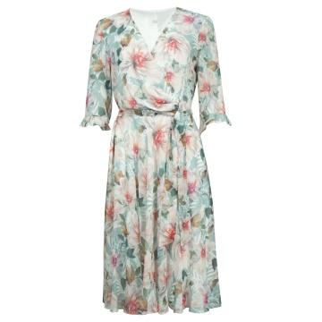 Zwiewna sukienka w kolorowe...