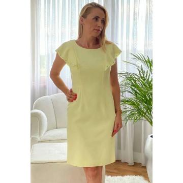 Cytrynowa dopasowana sukienka