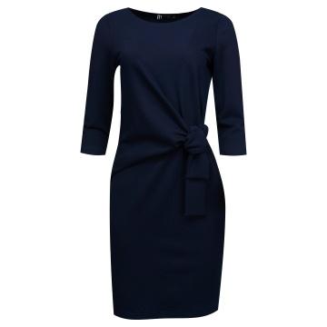 Granatowa prążkowana sukienka