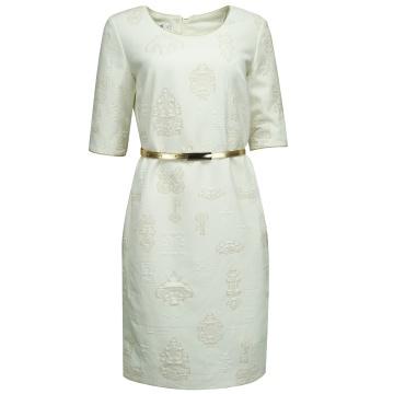 Kremowa sukienka w złote wzory