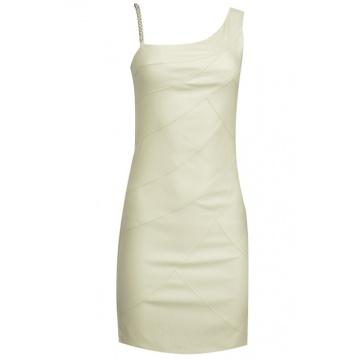 Beżowa ołówkowa sukienka