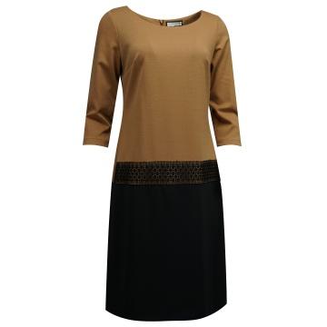 Brązowo-czarna sukienka z...