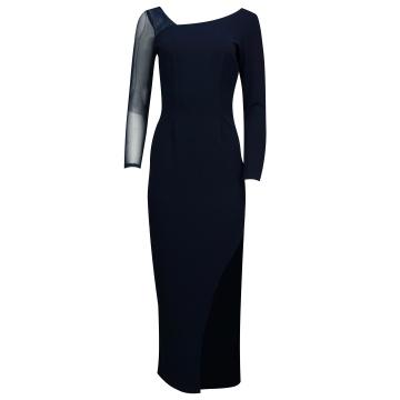 Granatowa długa sukienka z...