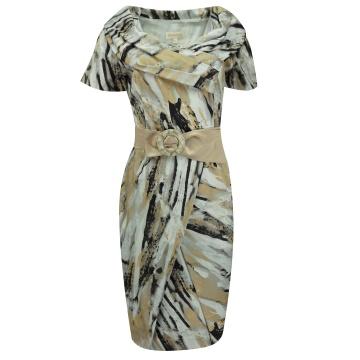 Sukienka w brązowe wzory D-04