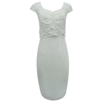 Biała sukienka drobne groszki