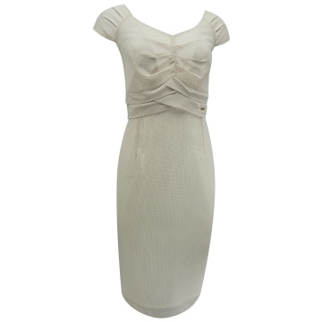 Beżowa sukienka drobne groszki