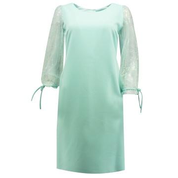 Miętowa ołówkowa sukienka z...