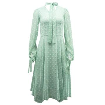 Miętowa sukienka w groszki,...
