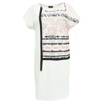 Biała sukienka z kolorowm...