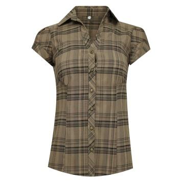 Brązowa bluzka koszulowa w...