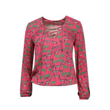Różowa bluzka damska w zebry