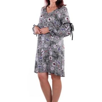Szara sukienka we wzory,...