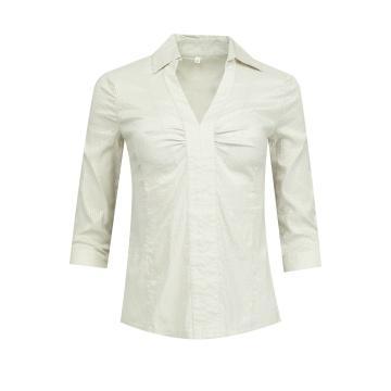 Beżowa koszulowa bluzka damska