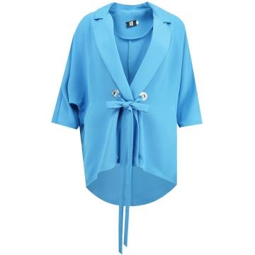 Niebieski żakiet damski z...