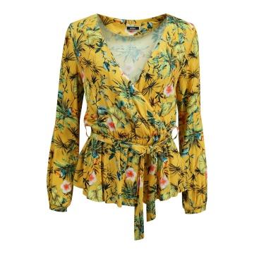 Żółta  bluzka damska w...
