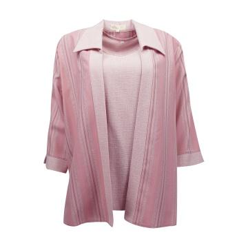 Różowy żakiet damski z bluzką