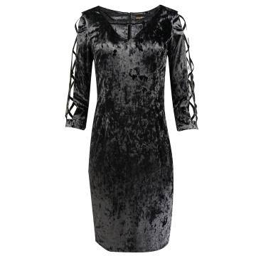 Śliwkowa sukienka z weluru,...