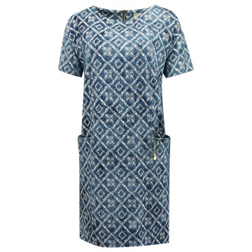 Niebieska luźna sukienka z...