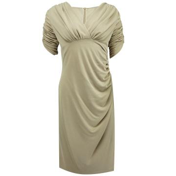 Beżowa ołówkowa sukienka  z...