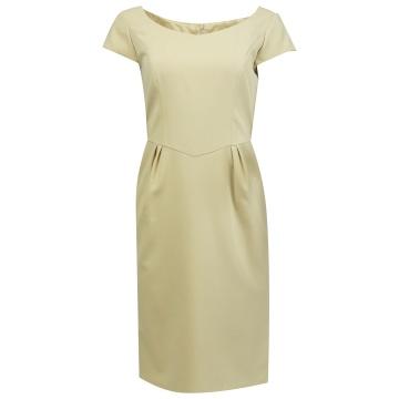 Beżowa ołówkowa sukienka,...