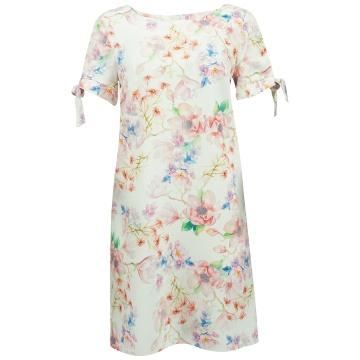 Kremowa sukienka w kolorowe...