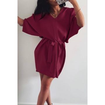 Wiśniowa sukienka oversize