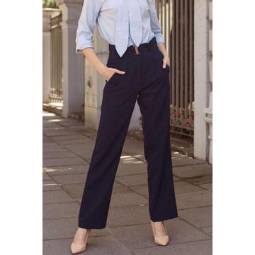 Granatowe spodnie damskie o...