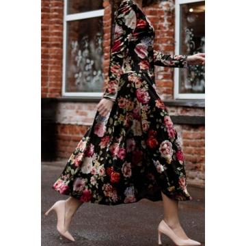 Długa sukienka z weluru w...