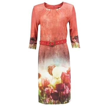 Ruda ołówkowa sukienka z...