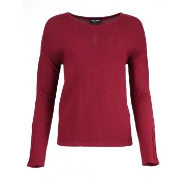 Amarantowy sweter damski z...