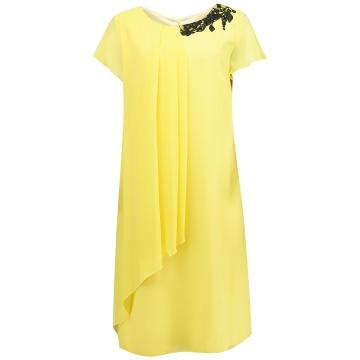 Zwiewna żółta sukienka,...